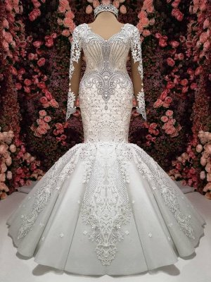 Charming Crystals Mermaid Bridal Gowns  | Long Sleeves Chapel Train Wedding Dresses_1