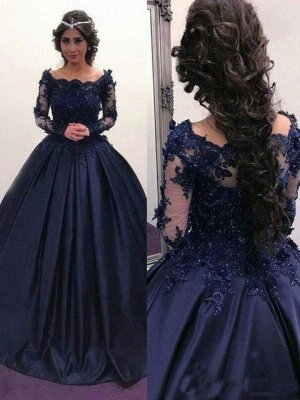 Scoop Long-Sleeves Lace Ball-Gown Elegant Prom Dresses_2