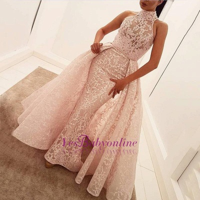 Illusion Unique Lace Sheath Puffy Sleeveless Popular High-Neck Overskirt Prom Dress_1