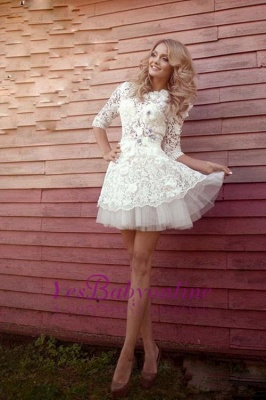 Sexy 3D-Floral Half-Sleeves Short See Through Appliques Wedding Dresses_1