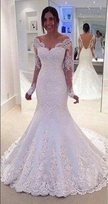Glamorous Off-the-Shoulder Long Sleeves Lace Mermaid Wedding Dresses_2