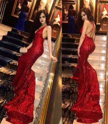 Red V-neck Mermaid Prom Dresses | Sequins Sleeveless Long Evening Gowns_3
