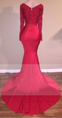Mermaid Sexy Red Long-Sleeve Lace-Appliques Prom Dress_3