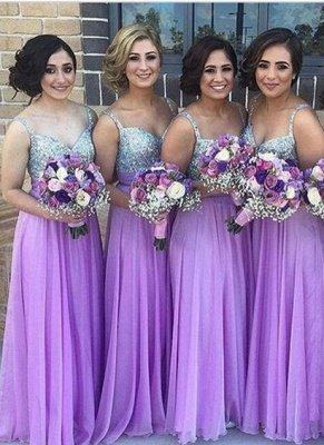 Lilac Long Bridesmaid Dresses Straps  Floor Length Maid of Honor Dresses