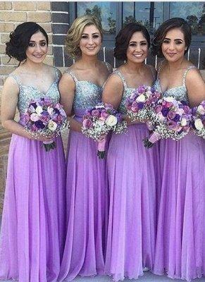 Lilac Long Bridesmaid Dresses Straps  Floor Length Maid of Honor Dresses