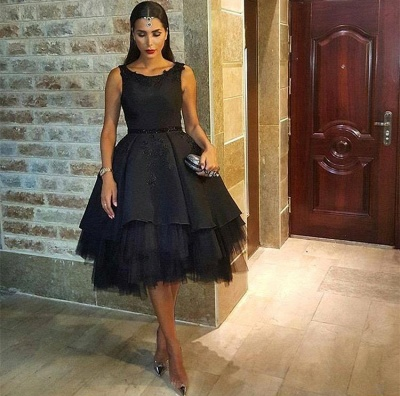 Black Mesh Scoop Sleeveless Short Sexy Lace Appliques Prom Dress_3
