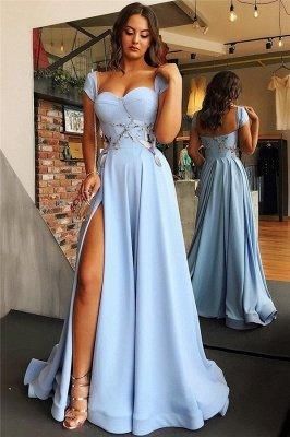 Cap Sleeves Open Back Blue Formal Evening Dress | Side Slit Appliques Prom Dresses_1