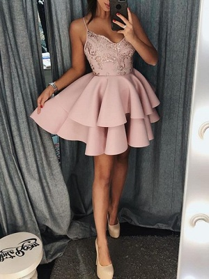 Spaghetti-strap Homecoming Dresses | Tiers Skirt Short Cocktail Dresses_3