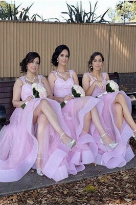 Appliques A-Line Straps Tulle Elegant Lace Bridesmaid Dresses_3