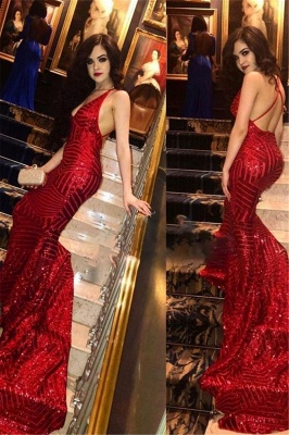 Red V-neck Mermaid Prom Dresses | Sequins Sleeveless Long Evening Gowns_2