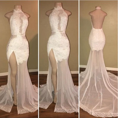 Elegant White Lace Halter Prom Dress Mermaid Backless Party Dress With Slit BA8228_3