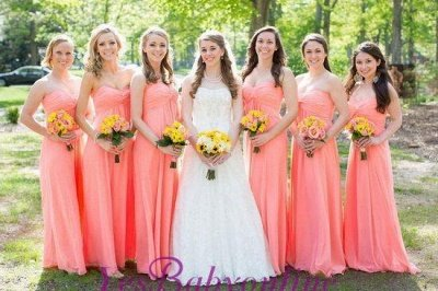 Strapless New-Arrival Ruched Floor-length Simple Bridesmaid Dresses_1