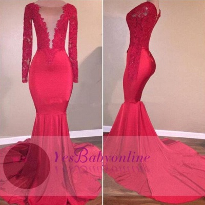 Mermaid Sexy Red Long-Sleeve Lace-Appliques Prom Dress_1