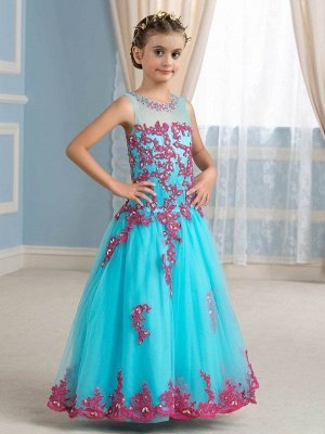 Cute A-Line Tulle Scoop Sleeveless Appliques Flower Girl Dress with Beading_1