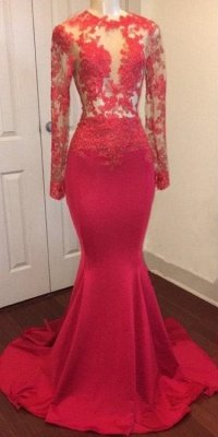 Long Sheer Lace Red Prom Dresses | Long Sleeves Mermaid Evening Gowns_1