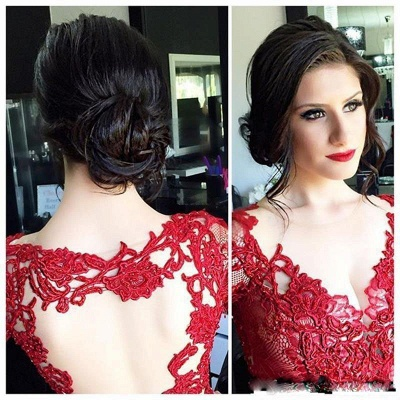 Chic Red Lace Evening Gowns Long Sleeves V-Neck Nude Lining Evening Dresses_3