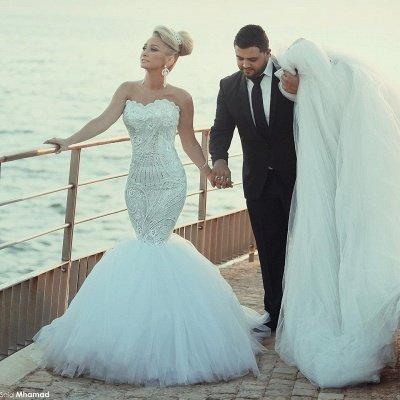 Luxurious Sweep Train Crystal Beading Mermaid Tulle Wedding Dress with Detachable Train_2