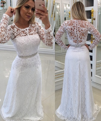 White Scoop Buttons Lace Long-Sleeves Evening Dress_2
