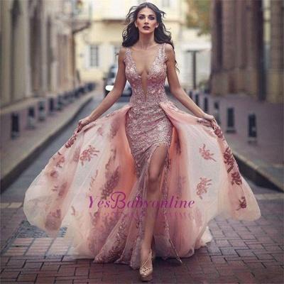 Lace Appliques V-neck Tulle Front Overskirt Slit Amazing Pink Evening Dress_1