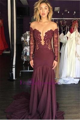 Burgundy Lace Scoop Tulle Elegant Chiffon Sheer Long-Sleeve Evening Dress_1