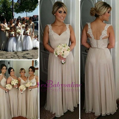 Lace A-line Straps Floor-length Buttons Bridesmaid Dresses_1