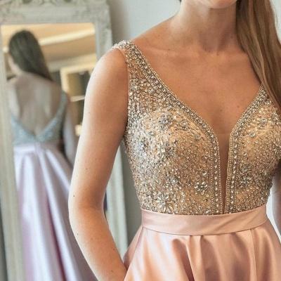 A-Line Beaded Sleeveless Brilliant V-Neck Prom Dresses_4
