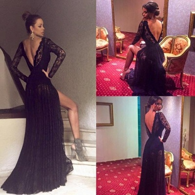 Long-Sleeve Sexy Lace Black Sweep-Train Prom Dress_4