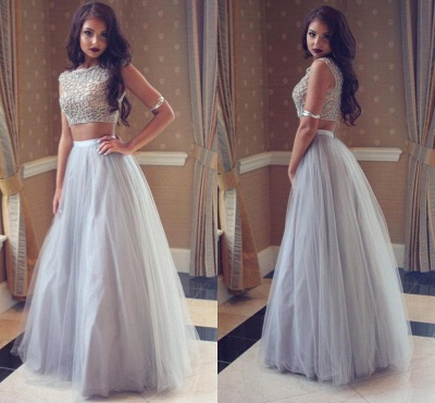 Sexy Two-Pieces Long Beadings Mesh Prom Dress_4