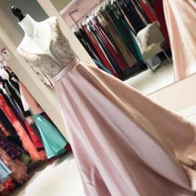 A-Line Beaded Sleeveless Brilliant V-Neck Prom Dresses_3
