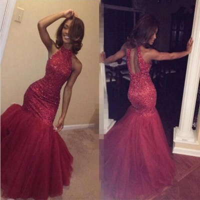 Sexy Sparkly Sleeveless Mermaid Sequined Halter Beading Open-Back Tulle Prom Dress_3