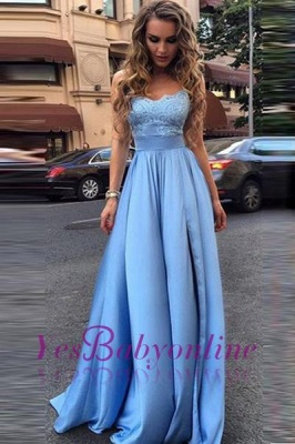 Elegant Sky Blue Prom Dresses Lace Side Slit A-line Evening Gowns_1