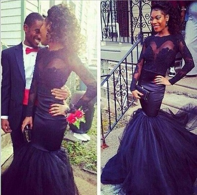 Tulle Mermaid Puffy Lace Long-Sleeve Sheer Prom Dresses_3
