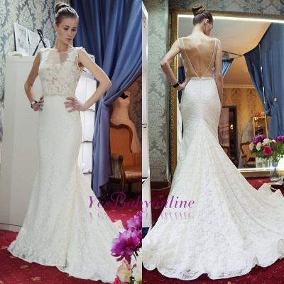 Glamorous Sleeveless Zipper Backless Lace Mermaid Wedding Dress_1