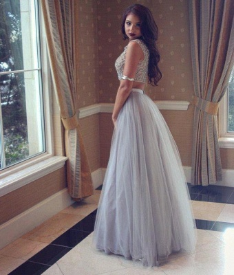 Sexy Two-Pieces Long Beadings Mesh Prom Dress_3