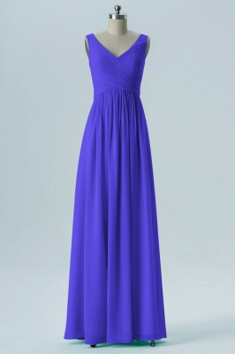 A-line Chiffon V-Neck Bridesmaid Dresses with Ruffles_5