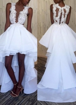 Gorgeous Sleeveless Hi-Lo Prom Dresses | Sexy Sheer Lace Appliques Party Dresses_1