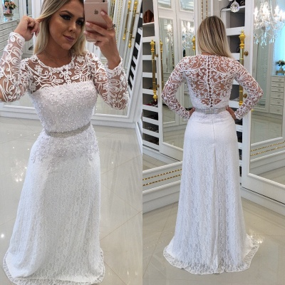 White Scoop Buttons Lace Long-Sleeves Evening Dress_3