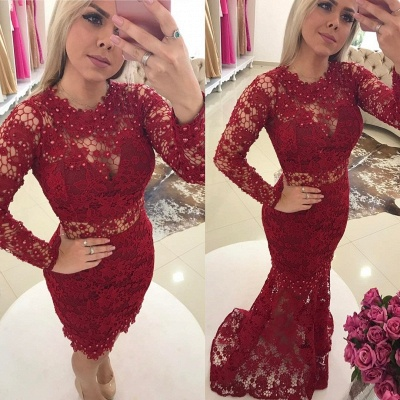 Lace Luxury Jewel Mermaid Long-Sleeves Pearls Prom Dresses_3