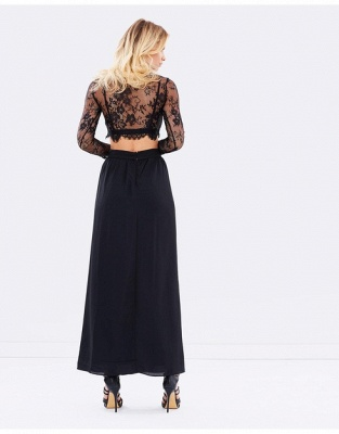 Two-Piece Lace Long-Sleeves Sexy Black Prom Dresses_3