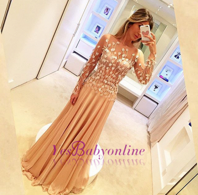 Appliques Long-Sleeve Glamorous Long Prom Dresses_1