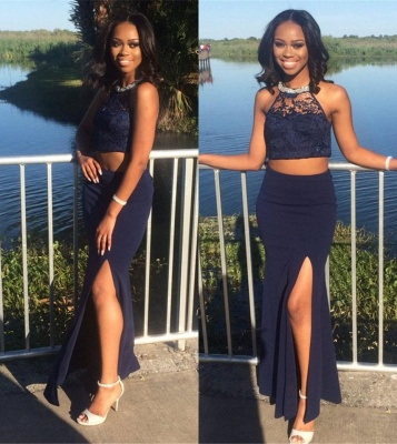 Side-Slit Sheath Cheap Halter Lace Spandex Navy Two-Piece Evening Dress_3