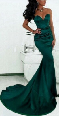 Simple Green Mermaid Prom Dresses_2