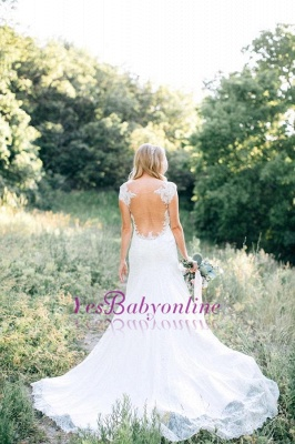 Rustic See Through Long Backless Mermaid Lace Wedding Dresses_1