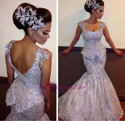 Amazing Appliques Sparkly Sleeveless Sequins Mermaid Open-Back Evening Dresses_1