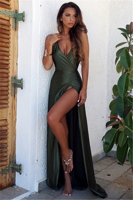 Long V-Neck Backless Simple Split Elegant Prom Dress_2