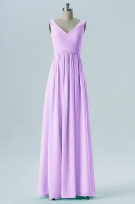 A-line Chiffon V-Neck Bridesmaid Dresses with Ruffles_3