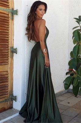 Long V-Neck Backless Simple Split Elegant Prom Dress_3