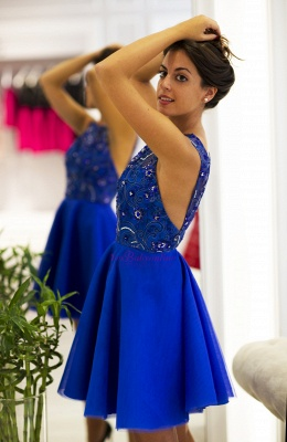 Cute Scoop-Neck Royal-Blue Short V-back Prom Dress_3