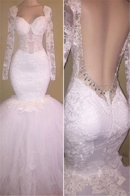 Long Sleeves Lace Prom Dresses Backless | White Mermaid Evening Gowns_1