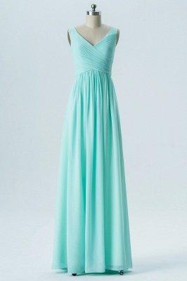 A-line Chiffon V-Neck Bridesmaid Dresses with Ruffles_1